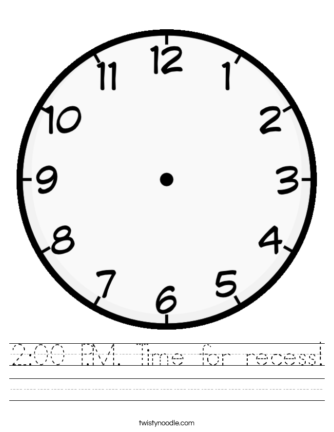 2:00 P.M. Time for recess! Worksheet