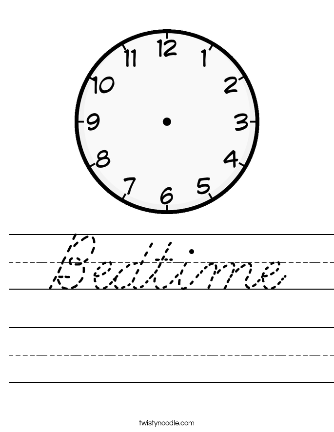 Bedtime Worksheet
