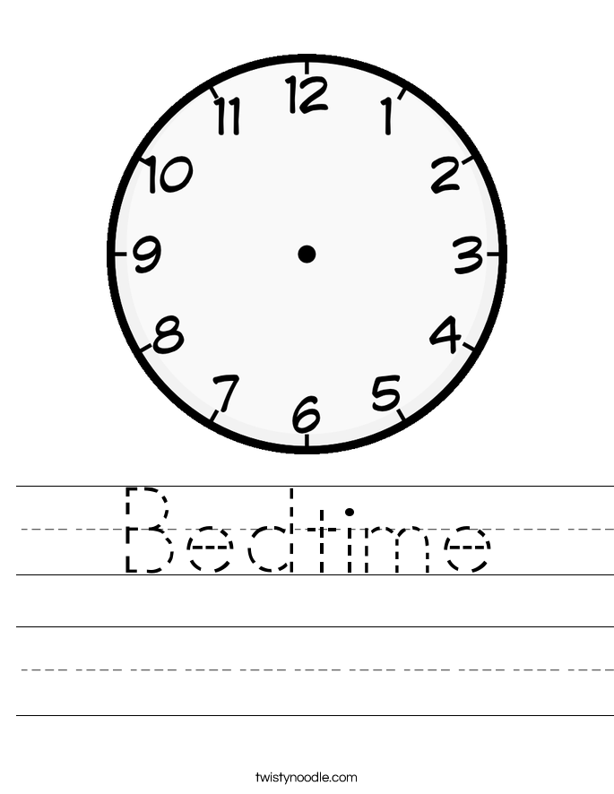 Bedtime Worksheet