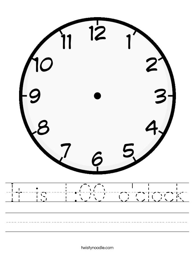 It is 1:00 o'clock Worksheet