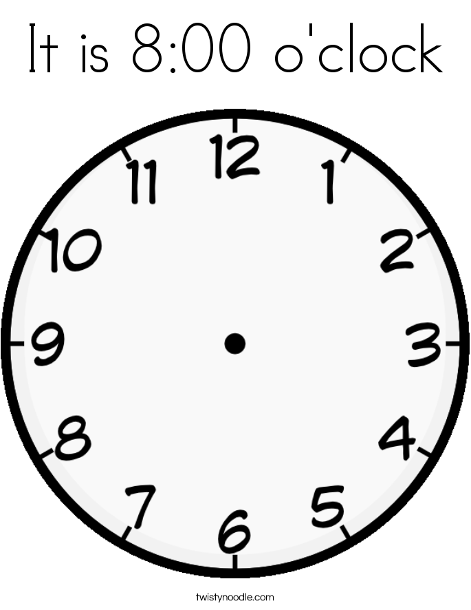 It is 8:00 o'clock Coloring Page