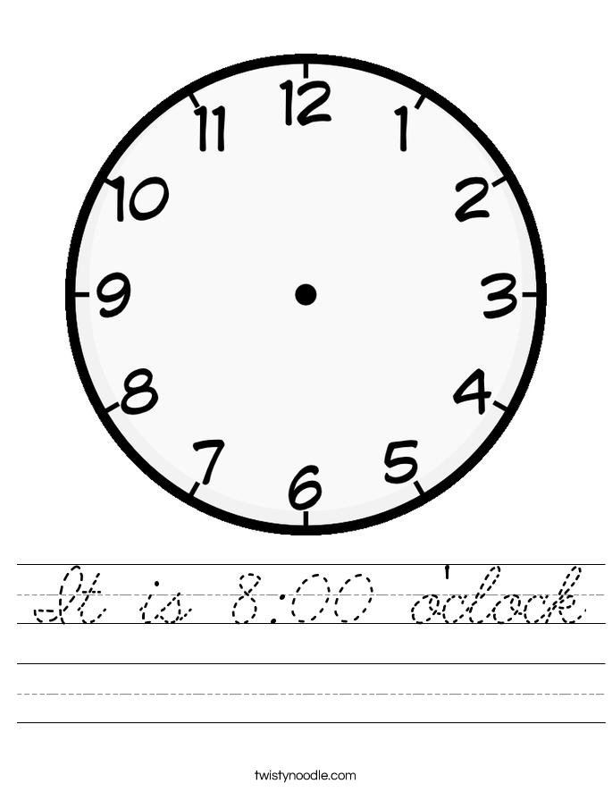 It is 8:00 o'clock Worksheet