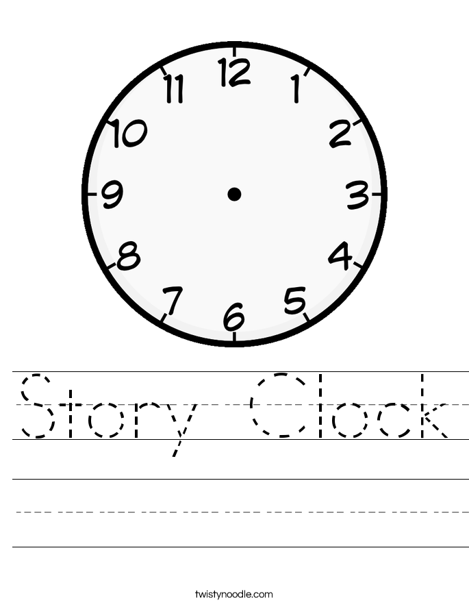 Story Clock Worksheet Twisty Noodle – Clock Worksheet