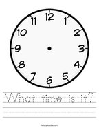 What time is it Handwriting Sheet