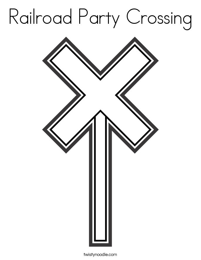 Railroad Party Crossing Coloring Page