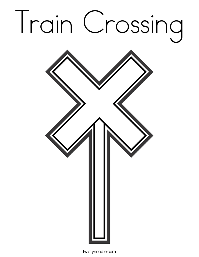 Free Worksheets pedestrian safety for kids worksheets : Train Crossing Coloring Page - Twisty Noodle