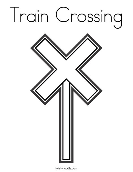 train crossing coloring page