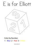 E is for Elliott Coloring Page
