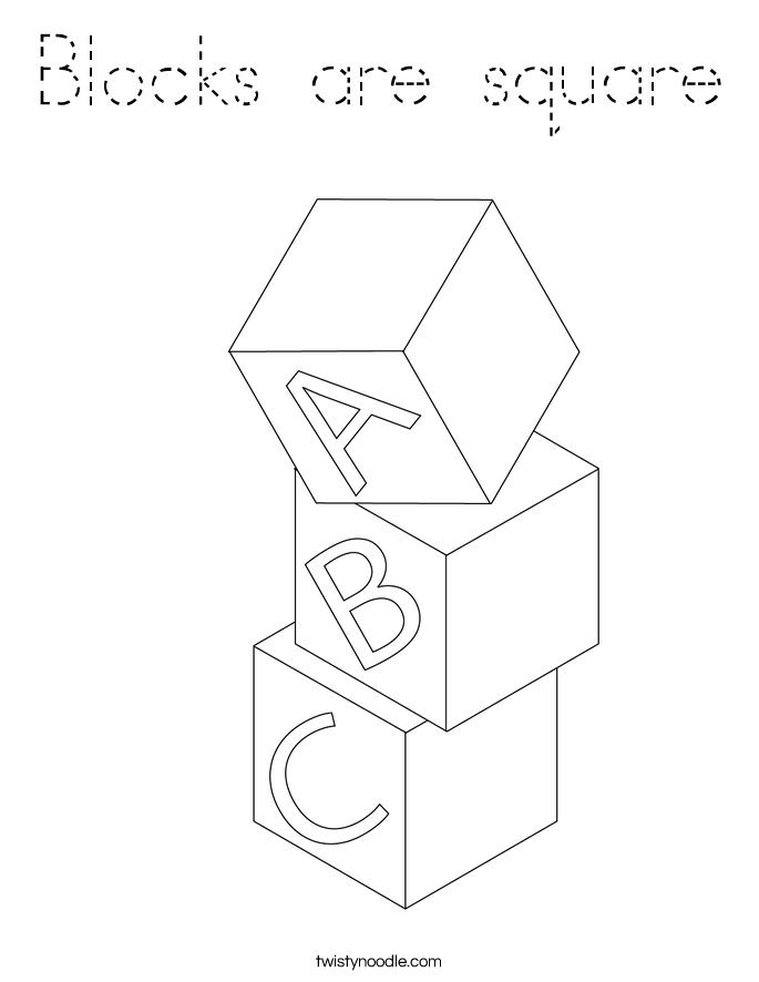 Blocks are square Coloring Page