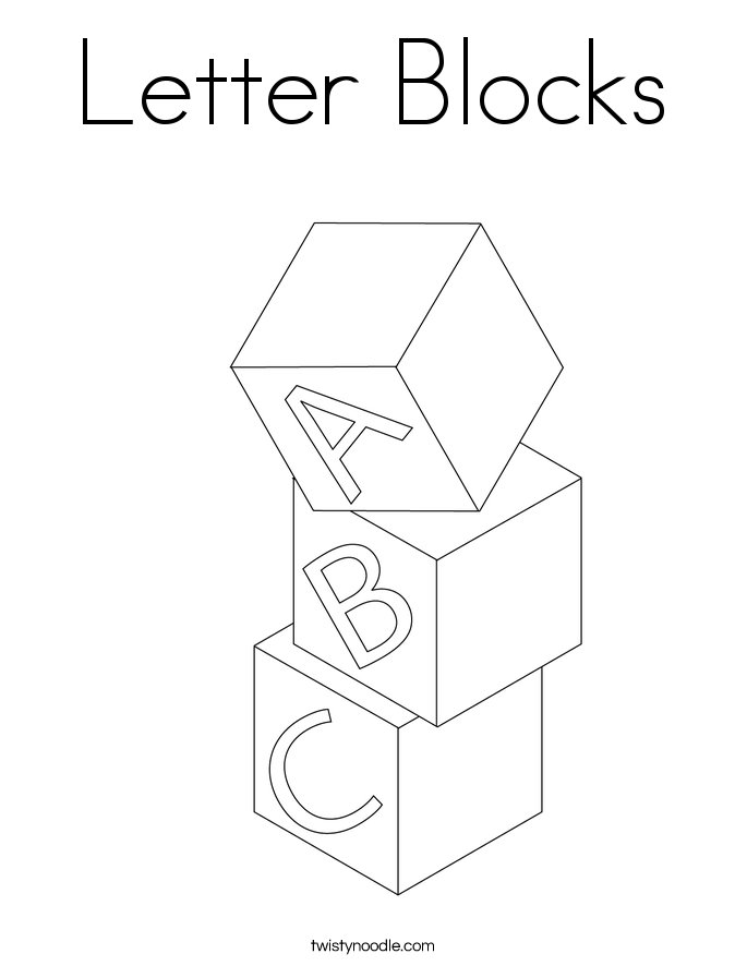 Blocks Coloring Pages Letter Page Twisty Noodle