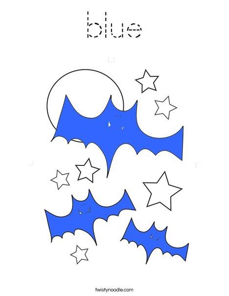 Blue Bats Coloring Page