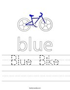 Blue Bike Handwriting Sheet