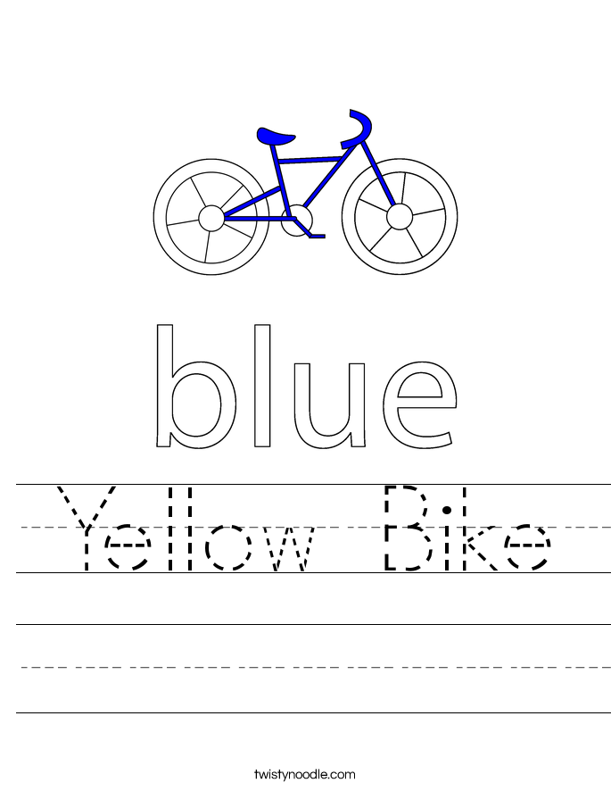 Yellow Bike Worksheet