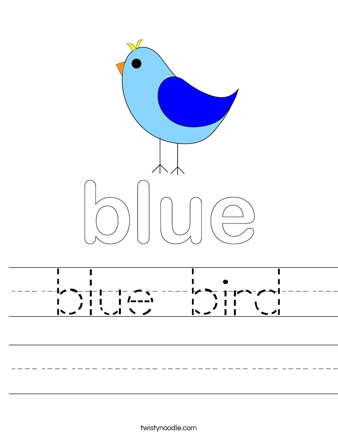 blue bird worksheet twisty noodle. Black Bedroom Furniture Sets. Home Design Ideas