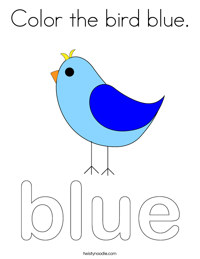 Color the bird blue Coloring Page Twisty Noodle