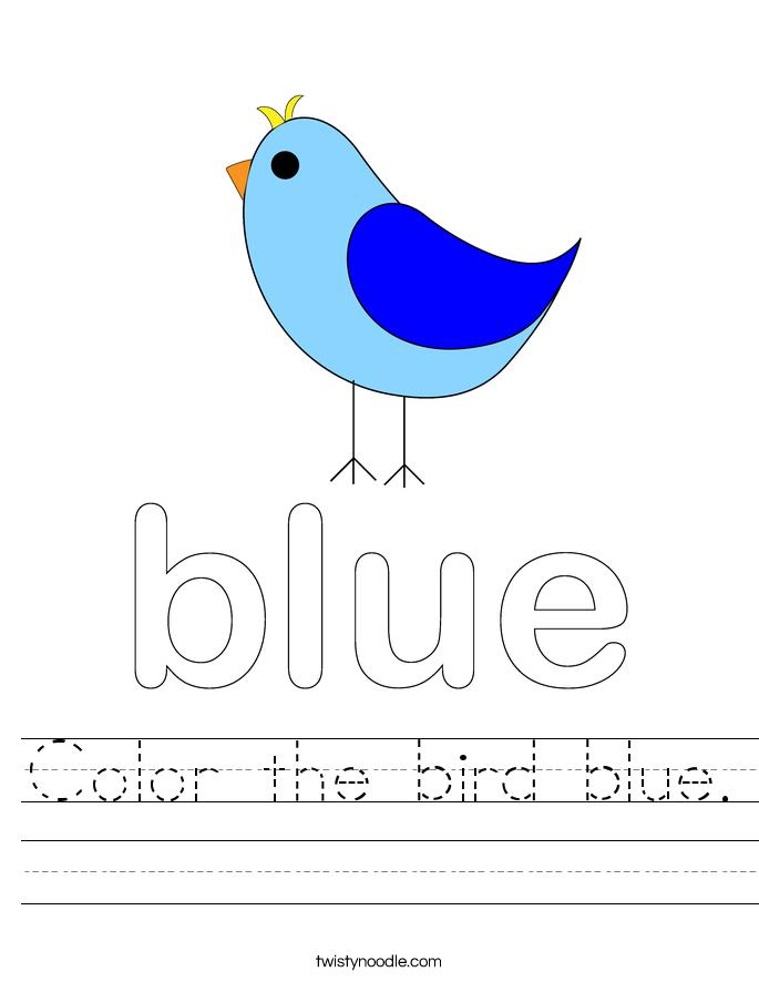 Color the bird blue. Worksheet