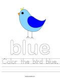 Color the bird blue. Worksheet