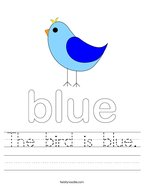 The bird is blue Handwriting Sheet