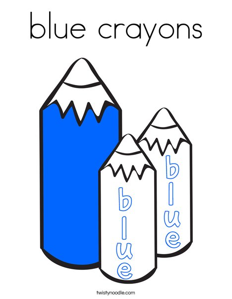 blue crayons Coloring Page
