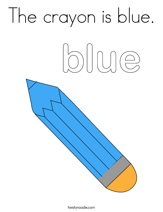 The crayon is blue. Coloring Page
