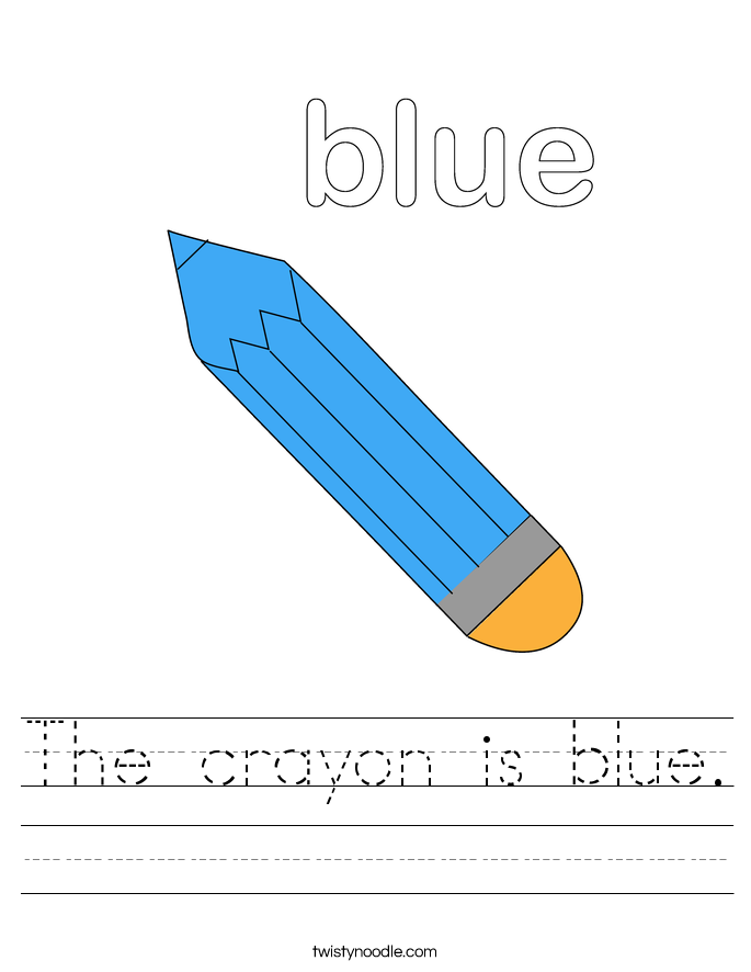The crayon is blue. Worksheet