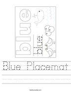Blue Placemat Handwriting Sheet