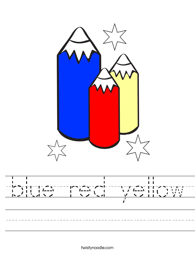 blue red yellow Worksheet