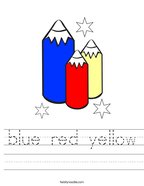 blue red yellow Handwriting Sheet