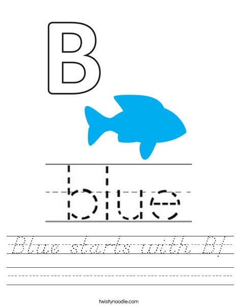 Blue starts with B! Worksheet