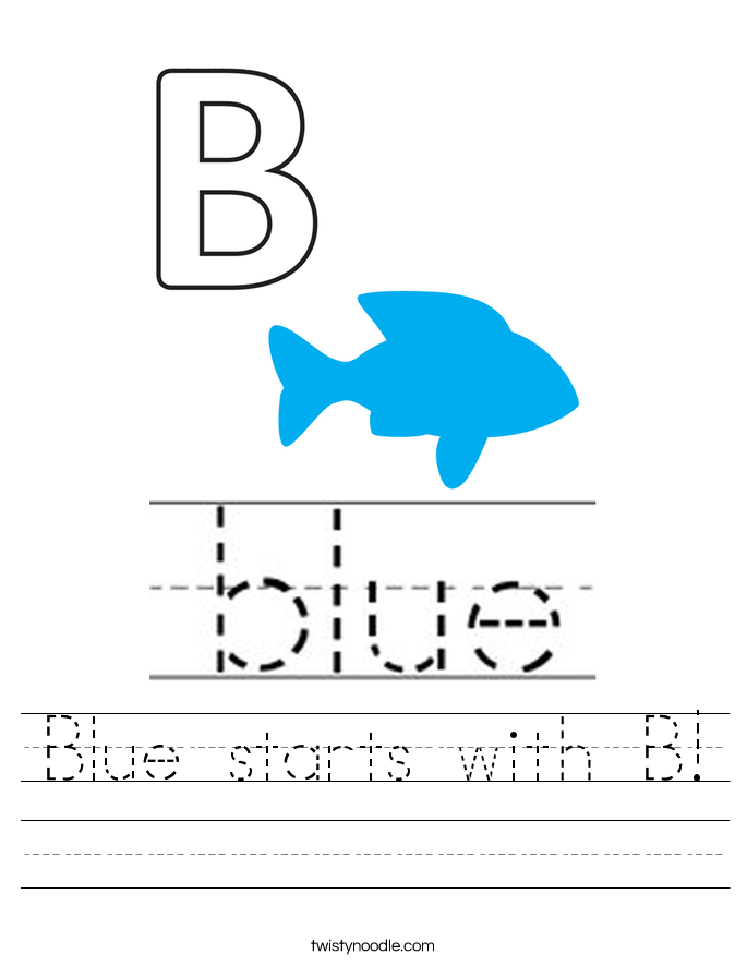 Blue starts with B! Worksheet