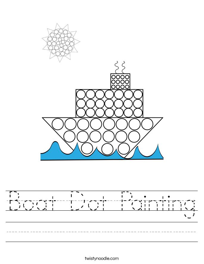 Boat Dot Painting Worksheet