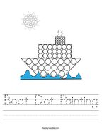 Boat Dot Painting Handwriting Sheet