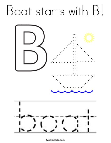 Boat starts with B! Coloring Page