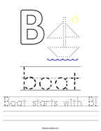 Boat starts with B Handwriting Sheet