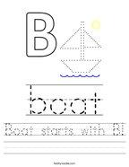 Boat starts with B Handwriting Sheet