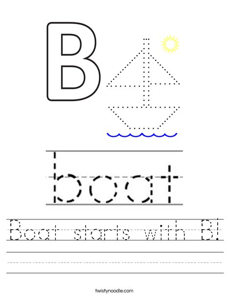 Boat starts with B! Worksheet