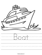 Boat Handwriting Sheet