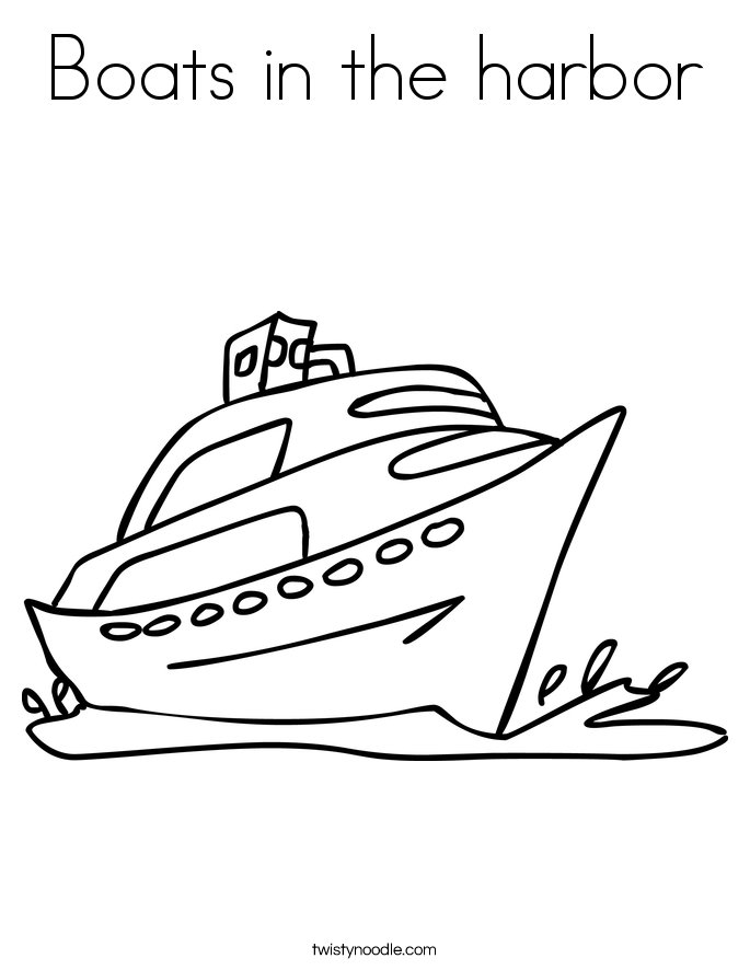 Boats in the harbor Coloring Page