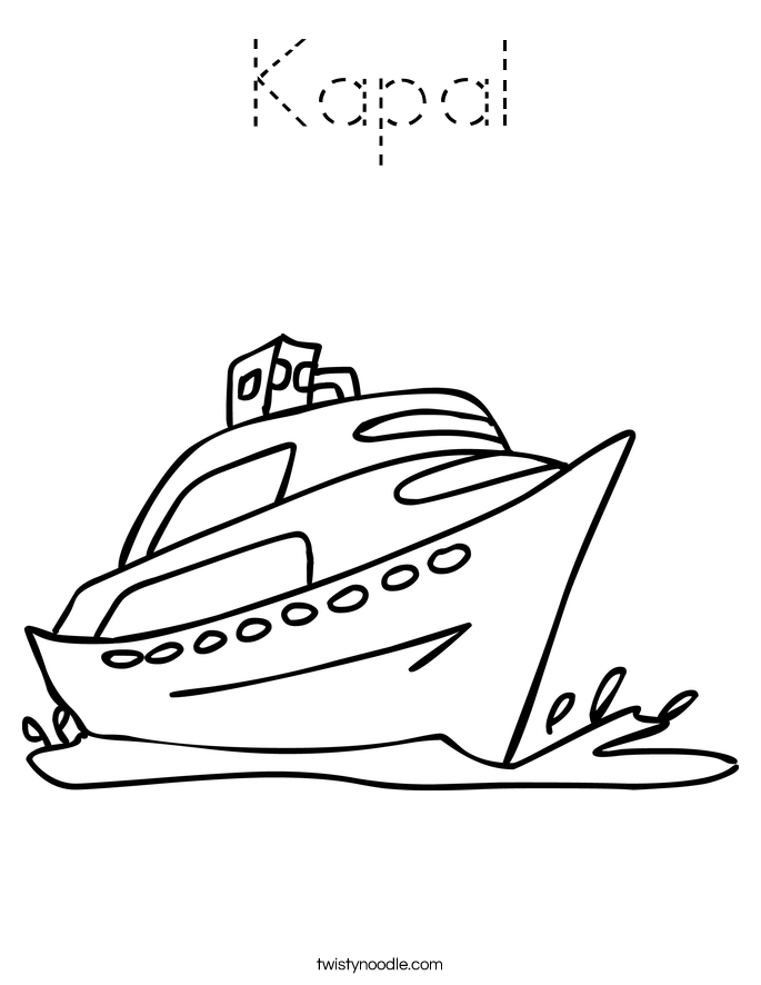 Kapal Coloring Page - Tracing - Twisty Noodle