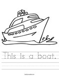 This is a boat. Worksheet