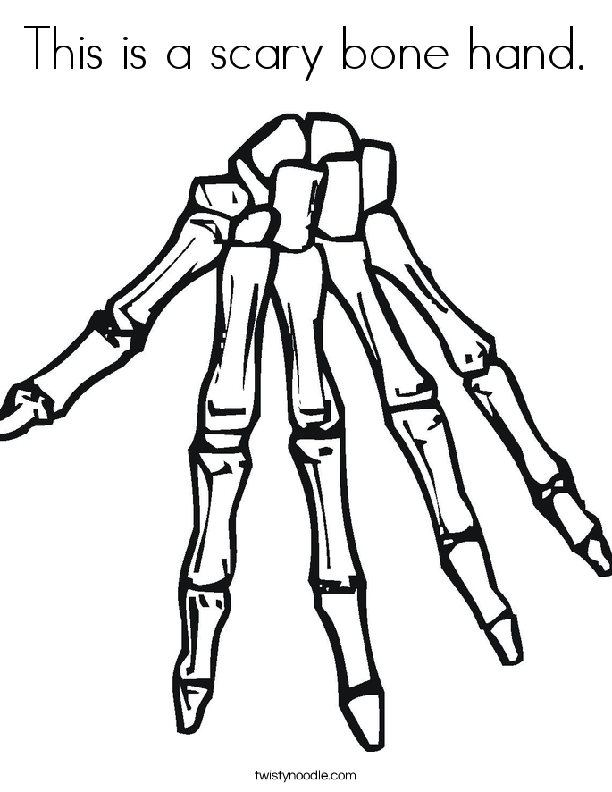 This is a scary bone hand. Coloring Page