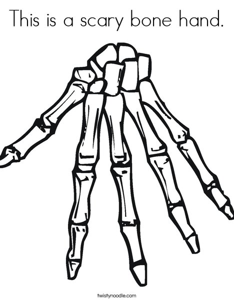 This is a scary bone hand Coloring Page - Twisty Noodle