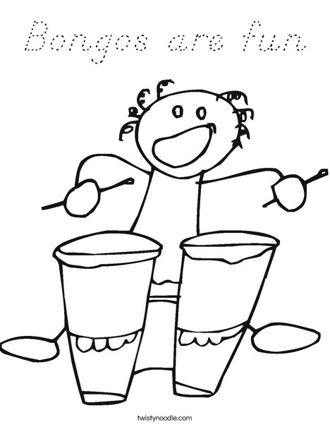 Bongos with Bongo Player Coloring Page