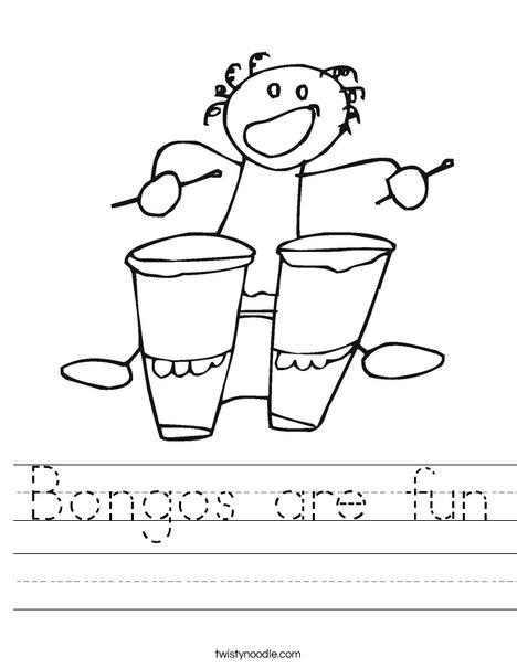 Bongos with Bongo Player Worksheet