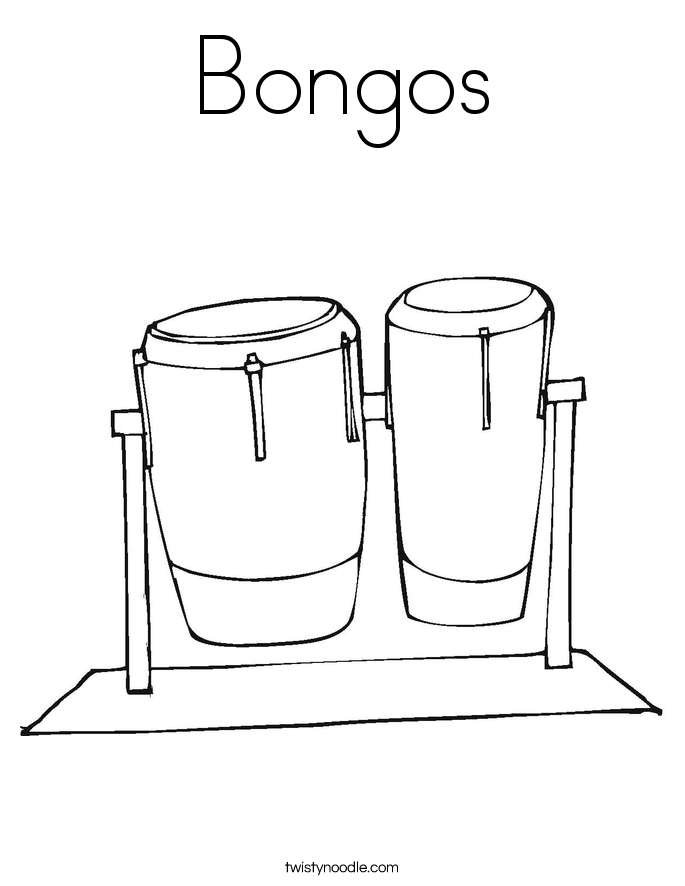 bongos coloring page - Music Coloring Pages