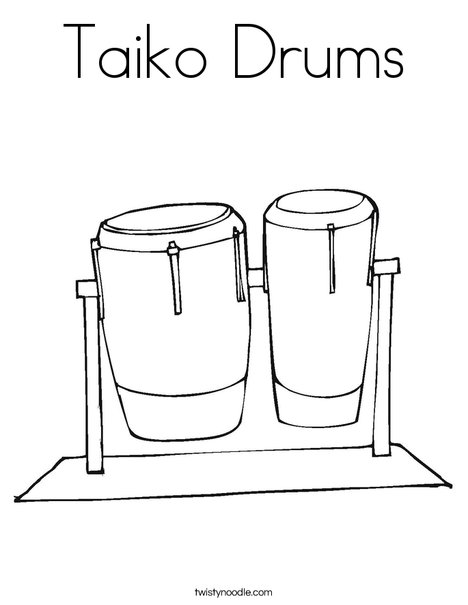 Taiko Drums Coloring Page Twisty Noodle