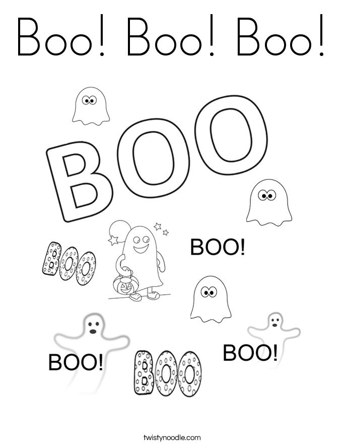 Boo! Boo! Boo! Coloring Page
