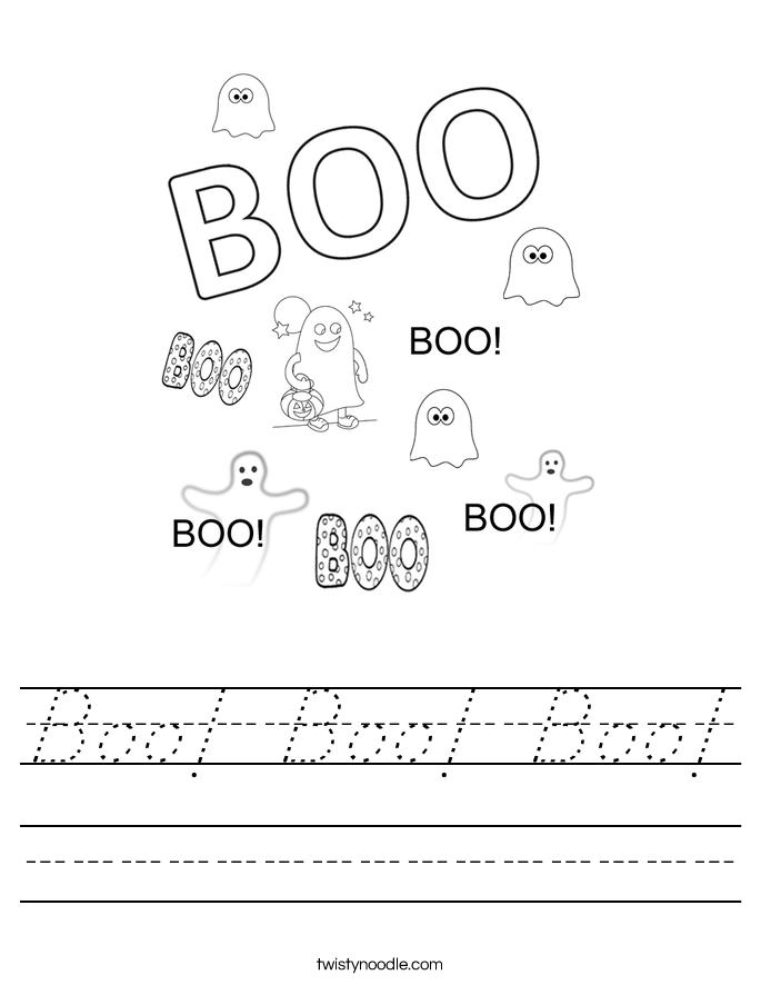 Boo! Boo! Boo! Worksheet