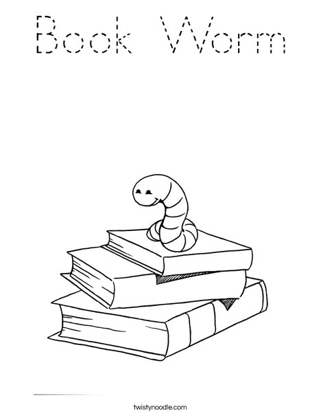 Book Worm Coloring Page