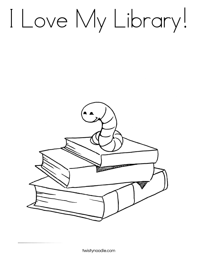 I Love My Library! Coloring Page